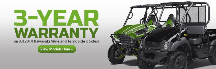 Get a 3-year warranty on all 2014 Kawasaki Mule and Teryx side x sides!