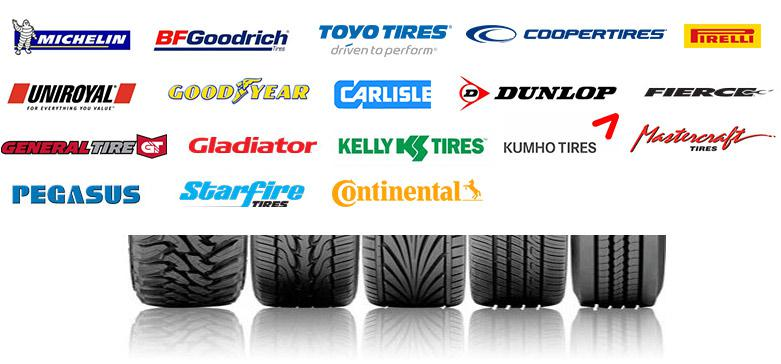 We carry products from Michelin®, BFGoodrich®, Toyo Tires, Cooper Tires, Pirelli, Uniroyal, Goodyear, Carlisle, Dunlop, Fierce, General Tire, Galdiator, Kelly Tires, Kumho Tires, Mastercraft, Pegasusm Starfire Tires, and Continental®