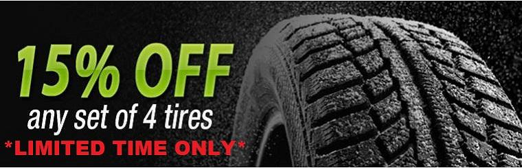 Tire Special. 15% OFF Limited Time Only.  View our selection here.