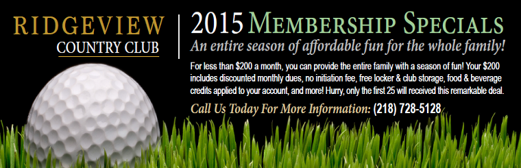 Ridgeview Country Club 2015 Membership Specials
