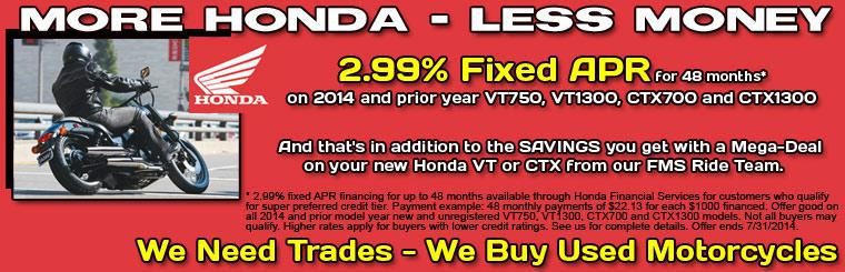 2.99% Fixed APR on VT and CTX Models