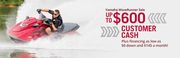 Yamaha WaveRunner Sale: Get up to $600 Customer Cash, plus financing as low as $0 down and $145 a month!