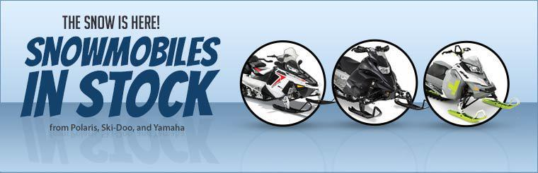 The snow is here! We have snowmobiles in stock from Polaris, Ski-Doo, and Yamaha!