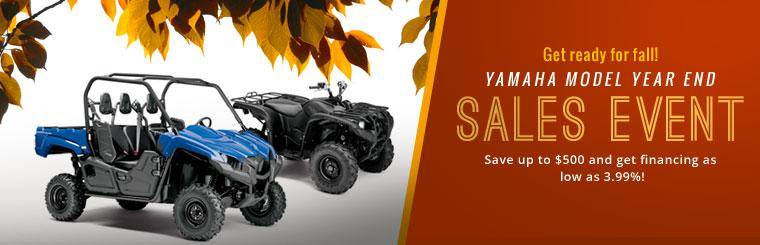 Yamaha Model Year End Sales Event: Save up to $500 and get financing as lows as 3.99%!
