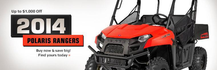 Get up to $1,000 off 2014 Polaris Rangers! Click here to find yours today.