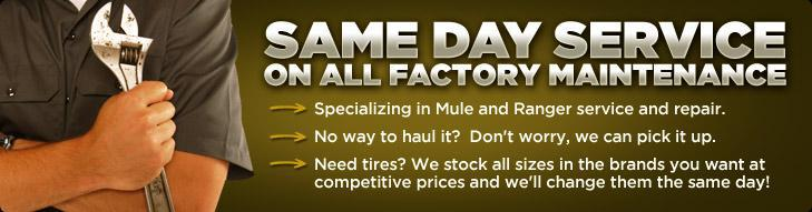 Same day service on all factory maintenance, specializing in Mule and Ranger service and repair. No way to haul it? Don't worry, we can pick it up. Need tires? We stock all sizes in the brands you want at competitive prices and we'll change them the same day!