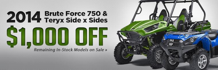 Get $1,000 off 2014 Kawasaki Brute Force 750 and Teryx side x sides!