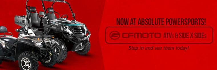 CFMOTO ATVs and side x sides are now available at Absolute Powersports! Stop in and see them today!