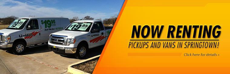 We now rent pickups and vans in Springtown! Click here for details.