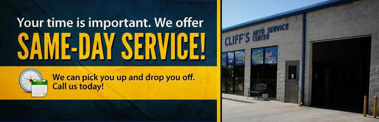 Your time is important. We offer same-day service! We can pick you up and drop you off. Call us today or click here to contact us for more information!
