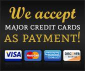 We accept major credit cards as payment, including Visa, MasterCard, American Express, and Discover.