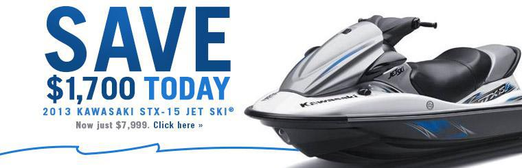 2013 Kawasaki STX-15 Jet Ski® is on sale for just $7,999. Click here to check it out.