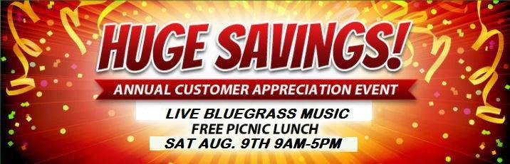 Customer Appreciation Day.  Huge Savings.  August 9th, 2014