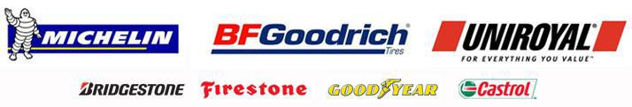 We proudly carry products from Michelin®, BFGoodrich®, Uniroyal®, Bridgestone, Firestone, Goodyear, and Castrol.
