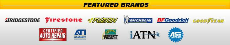 We carry products from Bridgestone, Firestone, Fuzion, Michelin®, BFGoodrich®, and Goodyear. We are associated with the Certified Auto Repair Centers, ATI, Security Finance, and iATN. We are ASE Certified.