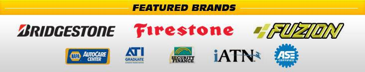 We carry products from Bridgestone, Firestone, and Fuzion. We are a NAPA AutoCare Center. We are affiliated with ATI, Security Finance, and iATN. Our technicians are ASE certified.