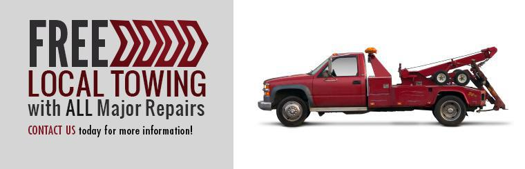 Receive free local towing with all major repairs. Contact us today for more information!