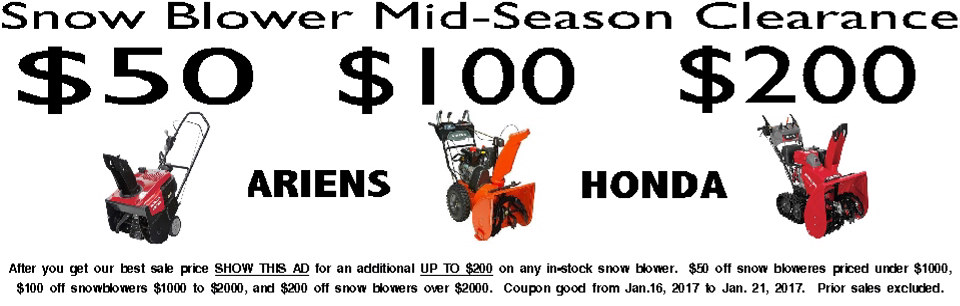 mid season snowblower sale