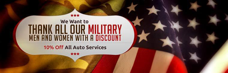 Military Personnel Discount: Get 10% off all auto services!