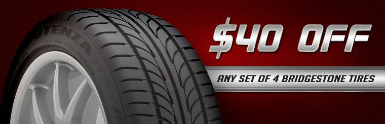 Get $40 off any set of four new Bridgestone tires! Click here for the coupon.