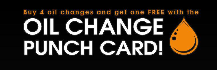 Buy 4 oil changes and get one free with the Oil Change Punch Card! Click here to print your coupon.