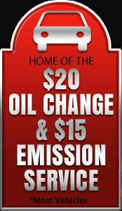 Home of the $20 oil change & $15 emission service. *Most vehicles.