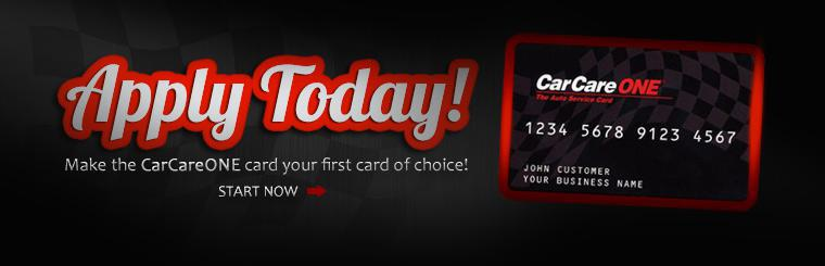 Apply for the CarCareONE card today! Click here to start.