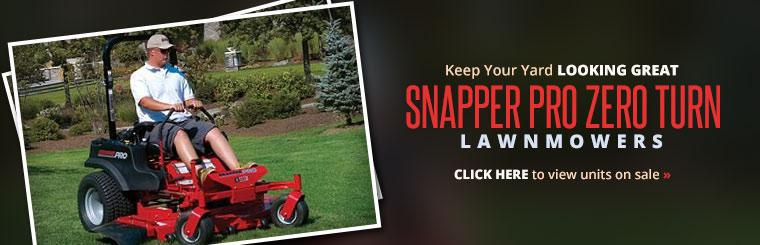 Keep your yard looking great with Snapper Pro zero turn lawnmowers. Click here to view units on sale.
