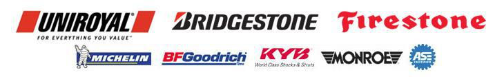 We carry products from Uniroyal®, Bridgestone, Firestone, Michelin®, BFGoodrich®, KYB, and Monroe. Our technicians are ASE certified.