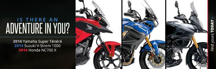 Click here to view the 2014 Yamaha Super Ténéré, 2014 Suzuki V-Strom 1000, and 2014 Honda NC700 X.