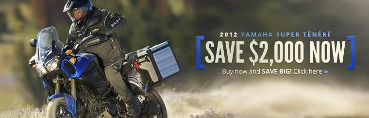 Save $2,000 now on the 2012 Yamaha Super Ténéré! Buy now and save big!