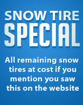 Snow Tire Special - All remaining snow tires at cost if you mention you saw this on the website