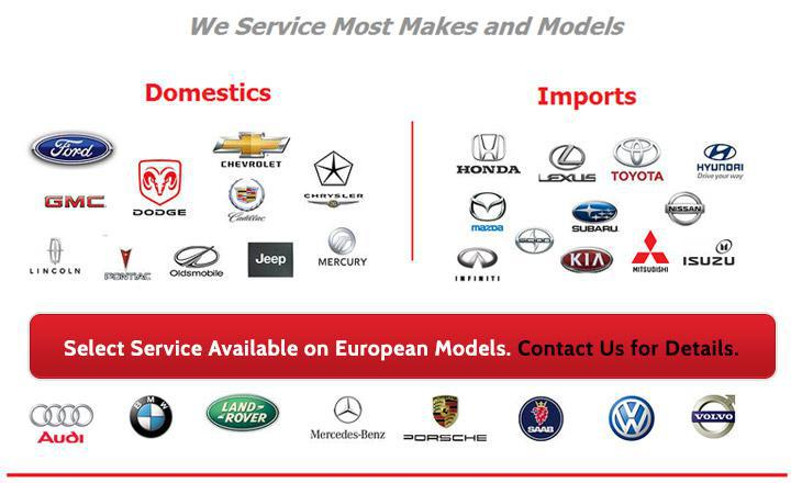 We service most makes and models. Select service is available on European models. Contact us for details.