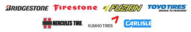 We are proud to carry tires from Bridgestone, Firestone, Fuzion, Toyo, Hercules, Kumho and Carlisle!