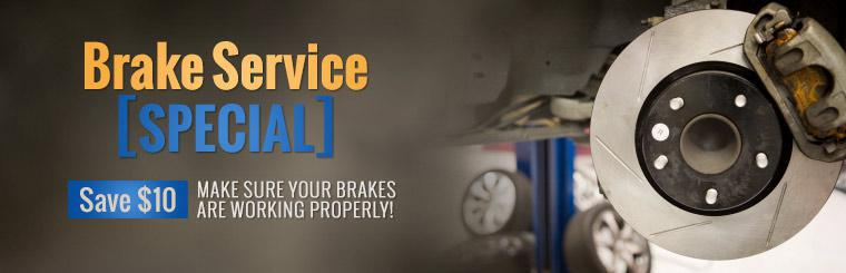 Save $10 with our brake service special. Click here for the coupon.
