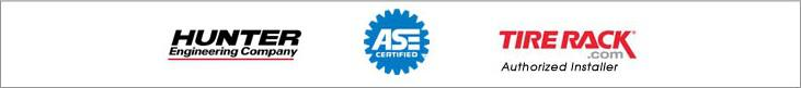 We use Hunter Engineering products. Our technicians are ASE certified. TireRack.com Authorized Installer.