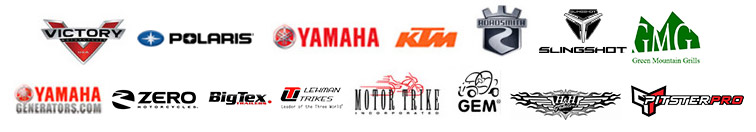 We carry products from Victory, Polaris, Yamaha, KTM, Roadsmith, Slingshot, Green Moutain, Yamaha Generators, Zero Motorcycles, BigTex, Lehman, Motor Trike, GEM, H&H, and Pitster Pro.