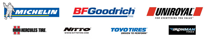 We carry products from Michelin®, BFGoodrich®, Uniroyal®, Hercules, Nitto, Toyo, and Ironman.