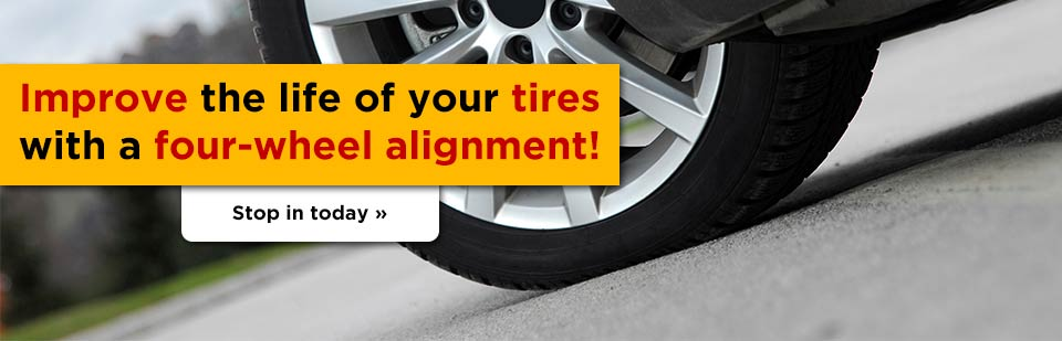 Improve the life of your tires with a four-wheel alignment! Stop in today.