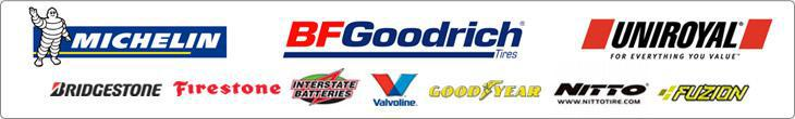 We carry great products from Michelin®, BFGoodrich®, Uniroyal®, Bridgestone, Firestone, Interstate Batteries, Valvoline, Goodyear, Nitto, and Fuzion.