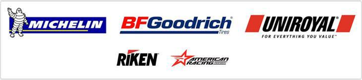 We carry tires from Michelin®, BFGoodrich®, Uniroyal®, and Riken and wheels from American Racing.