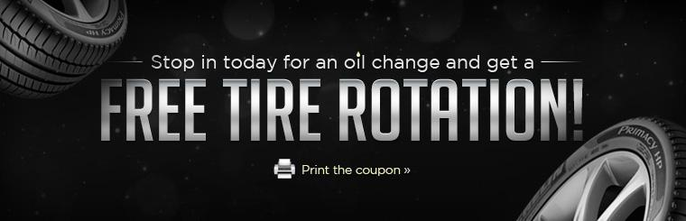 Stop in today for an oil change and get a FREE tire rotation! Click here to print the coupon.