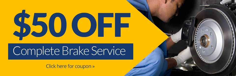 Get $50 off complete brake service at Twin City Tire & Auto Service in Bloomington, MN