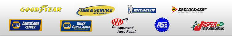 We carry products from Goodyear, Michelin®, and Dunlop. We are affiliated with NAPA AutoCare Center and NAPA Truck Service Center, the Tire & Service Center and AAA. Our technicians are ASE certified.