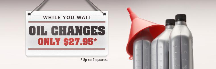 Mike's Tire and Auto offers while-you-wait oil changes for only $27.95 (up to 5 quarts).