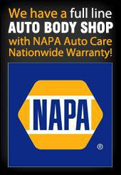 We have a full line auto body shop with NAPA Auto Care Nationwide Warranty!