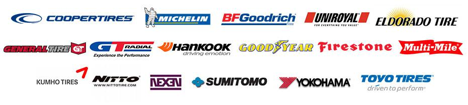 We carry products from Cooper, Michelin®, BFGoodrich®, Uniroyal®, Eldorado, General, GT Radial, Hankook, Goodyear, Firestone, Multi-Mile, Kumho, Nitto, Nexen, Sumitomo, Yokohama, and Toyo.