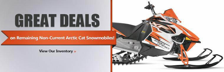 Take advantage of great deals on remaining non-current Arctic Cat snowmobiles! Click here to view our inventory.