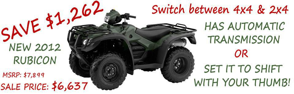 Save $1,262 on a New 2012 TRX500FA Rubicon