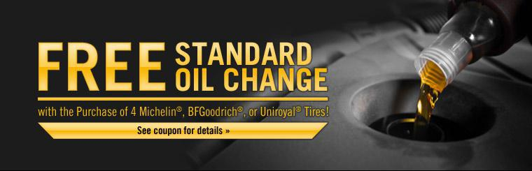 Receive a free standard oil change with the purchase of 4 Michelin®, BFGoodrich®, or Uniroyal® tires! Click here to see the coupon for details.